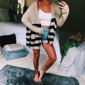 uo striped knit cardigan